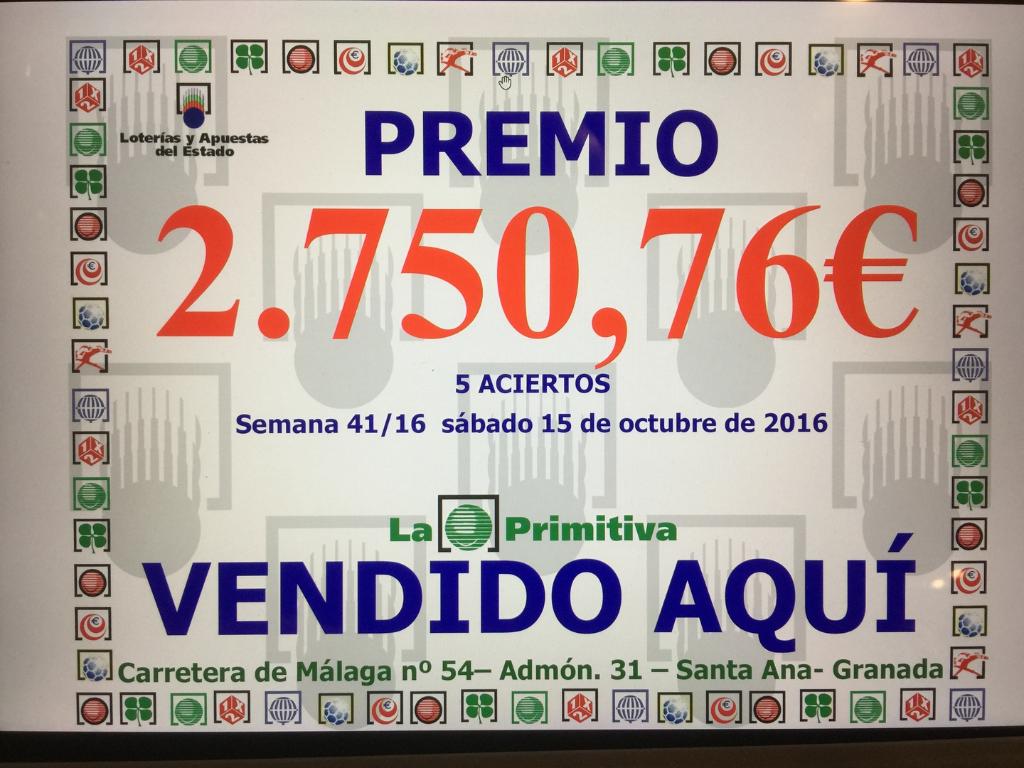 Sabado 15 de octubre de 2016. 5 aciertos. 2750,76€